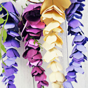 Hanging paper wisteria flowers.