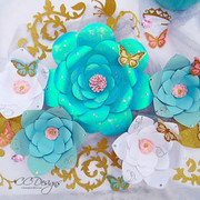 Set of 2 Giant Flower Templates with Vine and Butterfly
