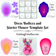 Full Starter Set of 8 Bodices plus 4 Giant Flower Templates