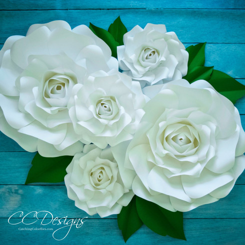 Extra large and small Alora paper rose flowers