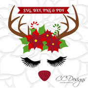 Red Nose Rudolph Reindeer Head SVG Cut File