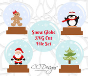 Set of 4 Snow Globe SVG/DXF Cut Files
