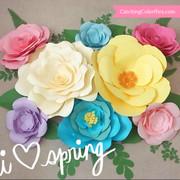 Springtime Set of Large Paper Flower Templates