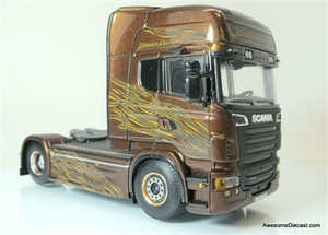 WSI 1:50 Scania R6 Topline Tractor: Black Amber Graphics
