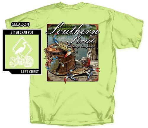Atlantic Blue Crab Pot Southern Strut Cotton Short Sleeve T Shirt