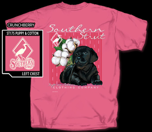 Black Lab Puppy w Cotton Boll Southern Strut Comfort Color Tee