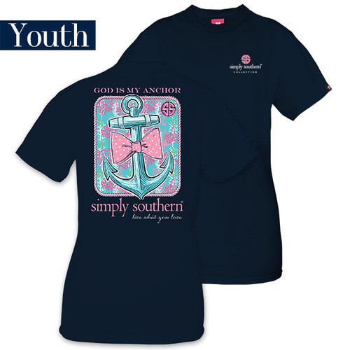 God Is My Anchor On Navy Blue Simply Southern Tee Shirt