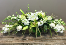 Rustic greens and whites in rectangular wood box in Rockville MD, Palace Florists