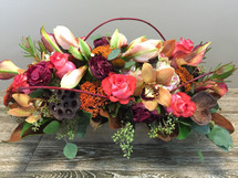 Autumn Romance features fall flowers and beautiful foliage in wood rectangular container in Washington DC and Rockville MD, Palace Florists