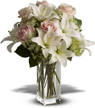 Heavenly and Harmony with white lilies and pink roses in a clear glass vase in Rockville MD, Palace Florists