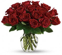 Washington DC Rose Special with 25 short stemmed gorgeous red roses in a vase with foliage in Rockville MD, Palace Florists