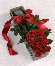 12 Premium Roses in a Box with a bow in Rockville MD, Palace Florists