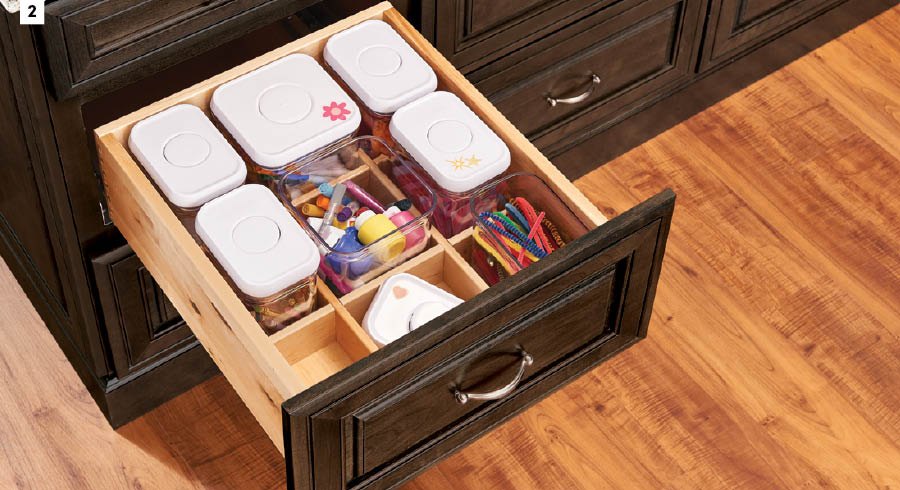 KraftMaid Deep Drawer Organizer with OXO Canisters