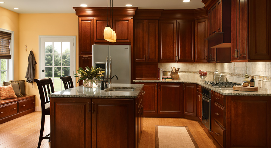 Kitchen Ideas Cherry Colored Cabinets 4 unique ways to use cherry cabinets in your kitchen - kraftmaid