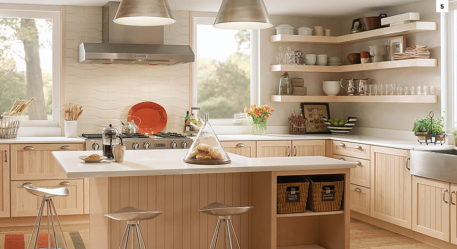 ... Can Interrupt The Flow In A Small Kitchen And Make It Feel Chopped Up.  Try To Keep The Details Simple And Sleek To Make The Kitchen Feel Roomier.