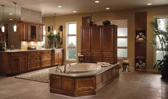 Cherry bathroom in sunset kraftmaid for Sunset bathroom designs