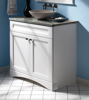 Maple bathroom in dove white kraftmaid - Kraftmaid cabinet replacement parts ...