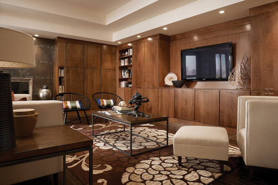Family room featuring vauxhall glass doors and recessed Kraftmaid closet systems