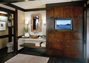 Quartersawn Oak Bathroom in Peppercorn
