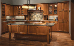 Cherry Kitchen in Sunset Featuring Vista Mullion Glass Doors