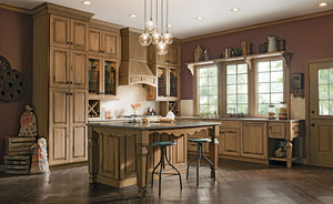 Kitchen Featuring Distressed Finish