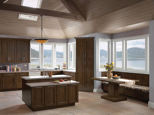 Oak kitchen in saddle kraftmaid for Kraftmaid closet systems