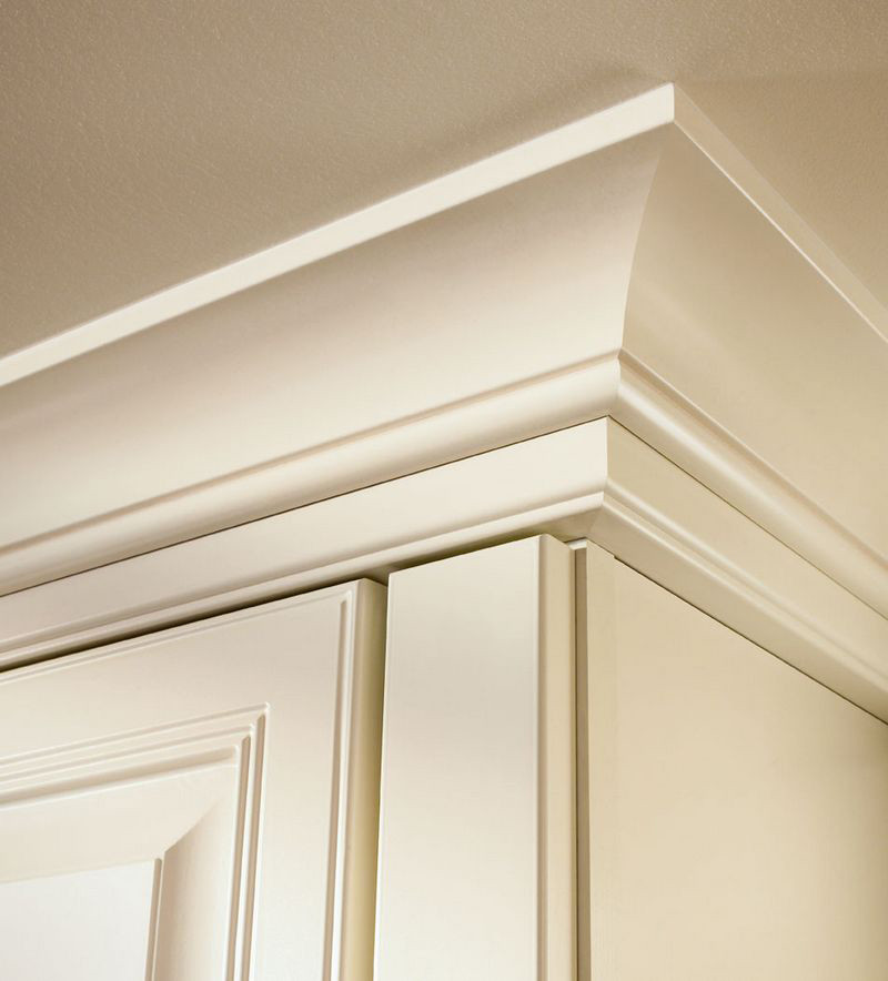 Moldings And Accents At Kraftmaid Com: Large Cove Molding With Starter Molding In Dove White