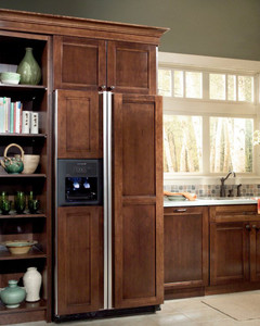 decorative appliance panel for refrigerator with top panel - kraftmaid