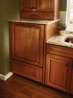 Decorative Appliance Panel On A Raised Dishwasher Kraftmaid