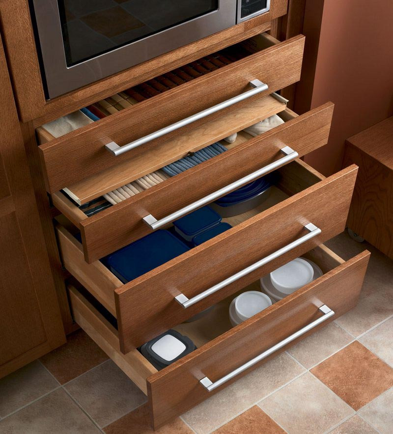 Microwave cooking center drawer storage kraftmaid for Kraftmaid microwave shelf