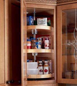 Base blind corner w wood lazy susan for Kraftmaid storage solutions