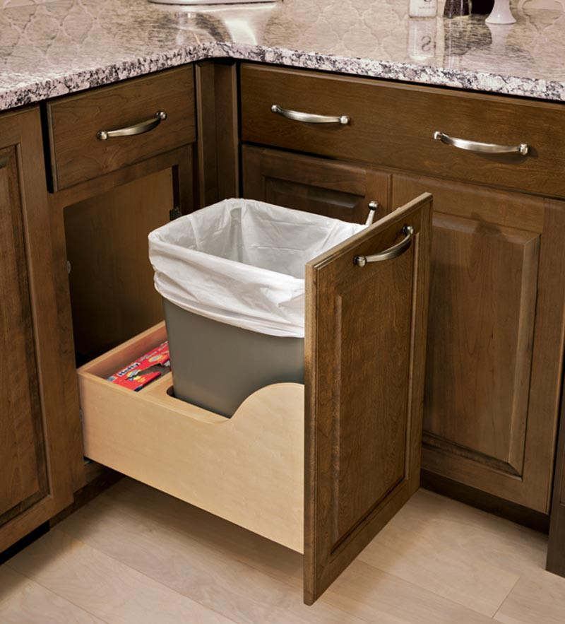 Kitchen Cabinets Or Open Shelving We Asked An Expert For: Auto-Open Wastebasket