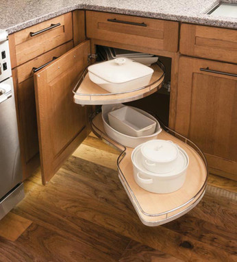 Base blind corner w chrome swing out kraftmaid for Blind corner systems for kitchen cabinets