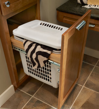 Vanity hamper linen top mount kraftmaid for Bathroom vanity with built in hamper