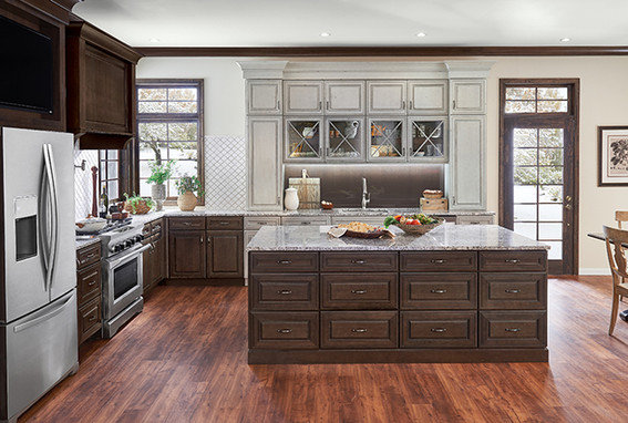 Molasses on Cherry and Aged Concrete on Maple Kitchen Cabinetry