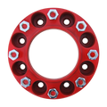 8 Lug 2 Inch Red Wheel Spacer 8x8 Front View