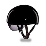 Daytona Skull Cap with Inner Shield Half Helmet Hi-Gloss Black