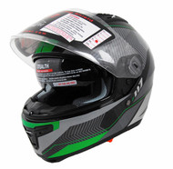 Vega Stealth F117 Full Face Helmet with Sunshield Neon Green Graphic