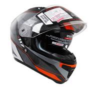 Vega Stealth F117 Full Face Helmet with Sunshield Neon Orange Graphic