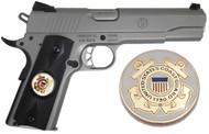 1911 Government Model US Coast Guard Emblems Set In Ebony Black Polymer Grips G52