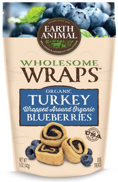 Earth Animal Organic Turkey & Blueberry Wraps 5 oz