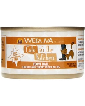 Weruva Cats in the Kitchen Fowl Ball- Chicken & Turkey in Au Jus 3 oz