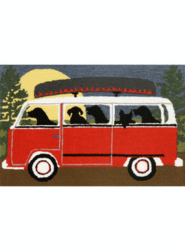 Frontporch Camping Trip Red Indoor/Outdoor Rug