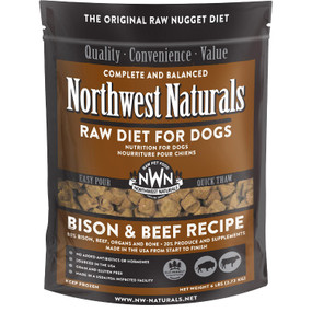 Northwest Naturals Frozen Raw Dog Food Bison & Beef Recipe Nuggets 6 lbs.
