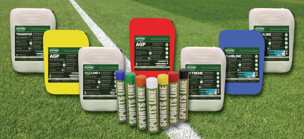 Concentrate and ready-to-use sports pitch line marking paint.