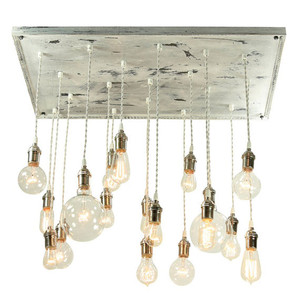 Vintage Molding Whitewashed Chandelier With Vintage Style Bulbs