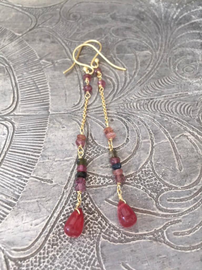 Earrings - Hanging Pink Sapphire