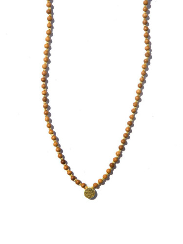Necklace - Wood Bead on Brass