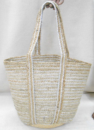 Jute Bag - Metallic Stripes