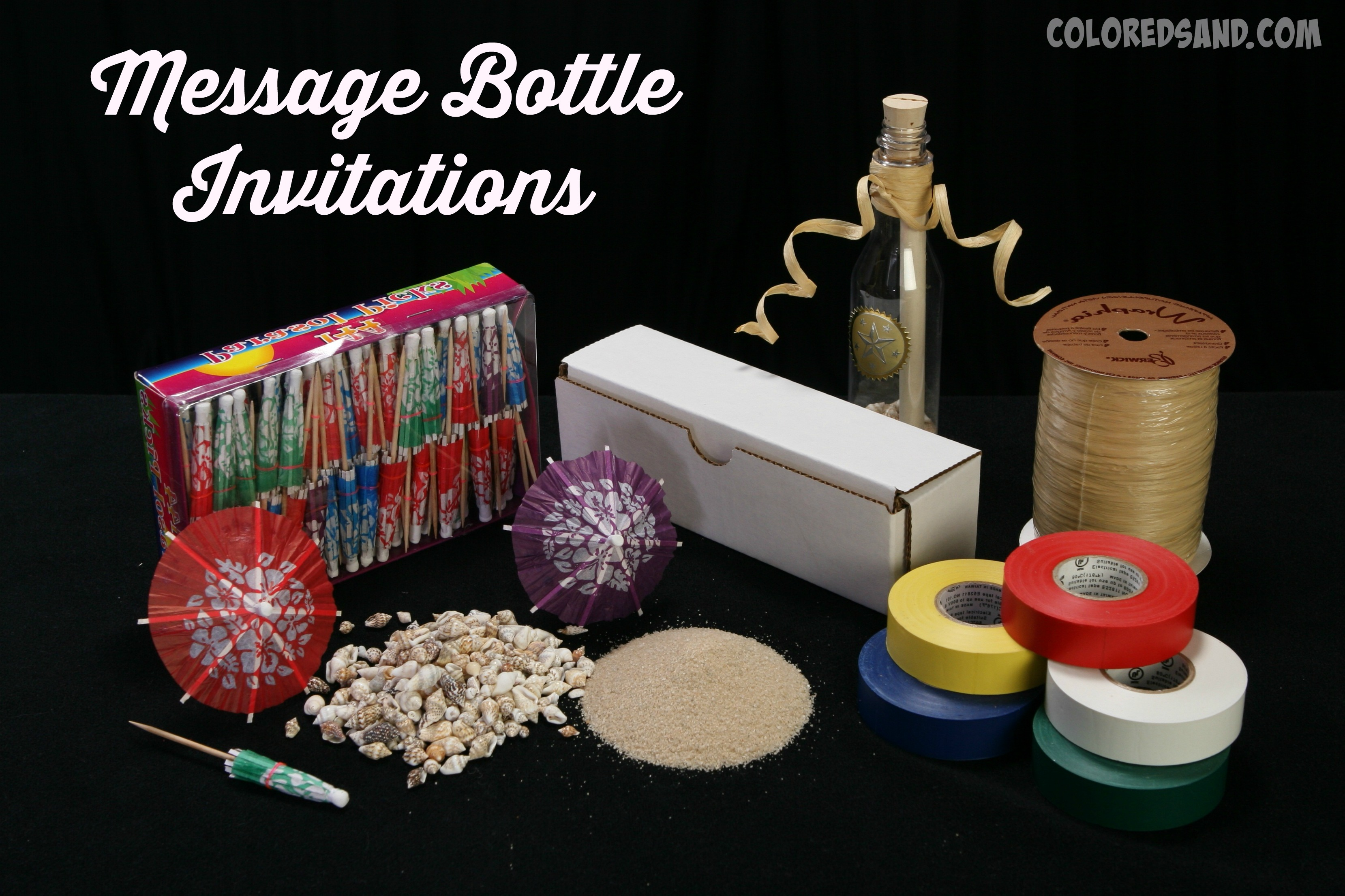 Message in the bottles invitation supplies